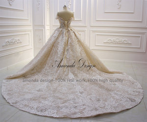 Image 5 - Amanda Design robe longue soiree Off Shoulder Lace Appliqued Crystal Champagne Wedding Dress