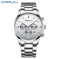 CRRJU Luxury Business Men Quartz Watches Luminous Waterproof Military Sport Clock Stainless Steel Male Wristwatch Relogio