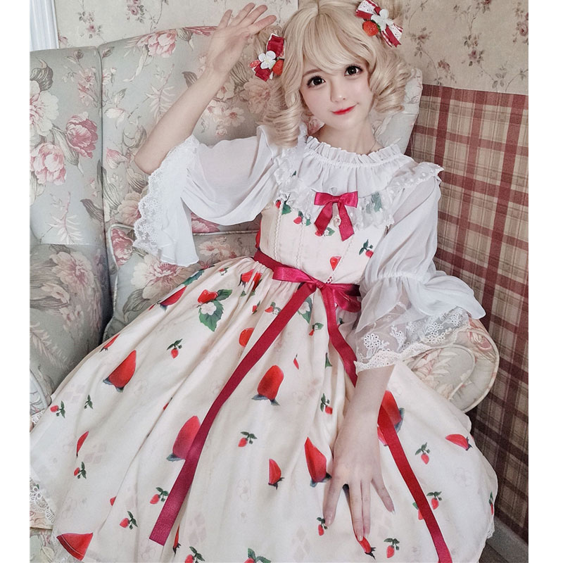 Strawberry Flower Sweet Printed Lolita Casual JSK Dress Short Summer Dress