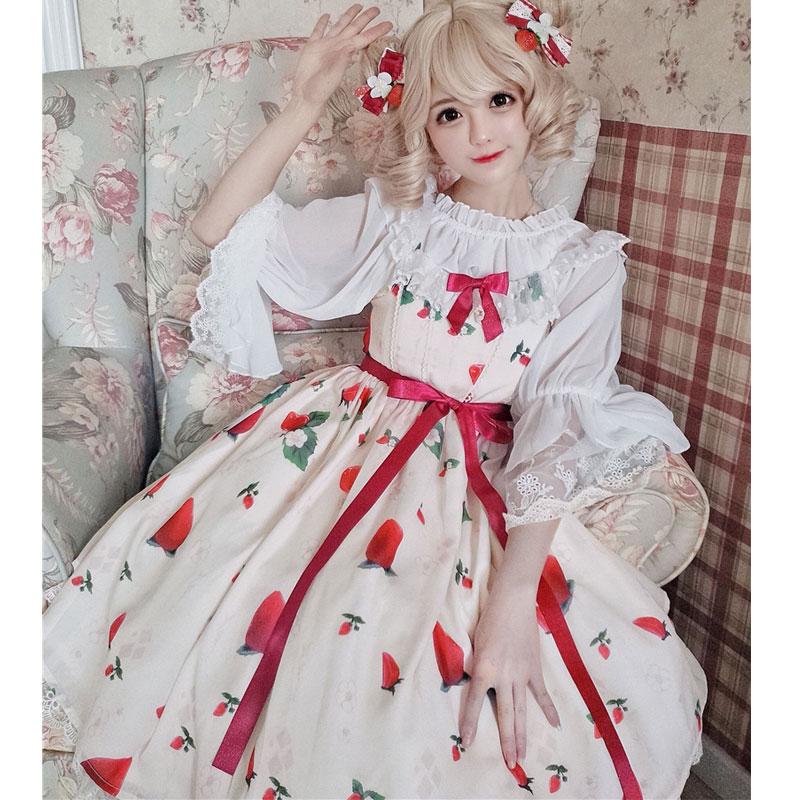 Vestido corto de verano de fresa y flor Sweet dulce estampado Lolita Casual JSK-in Vestidos from Ropa de mujer on AliExpress - 11.11_Double 11_Singles' Day 1