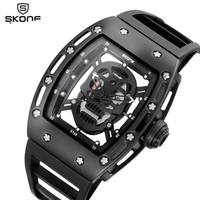SKONE 2017 Pirate Skull Style Quartz Men Watches Brand Men Military Silicone Men Sports Watch Waterproof