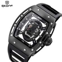 SKONE 2017 Pirate Skull Style Quartz men Watches Brand Men Military Silicone Men Sports Watch Waterproof Relogio Masculino
