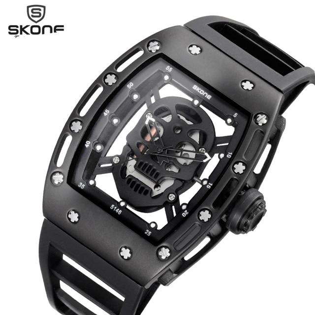 SKONE 2017 Pirate Skull Style Quartz men Watches Brand Men Military Silicone Men Sports Watch Waterproof Relogio Masculino