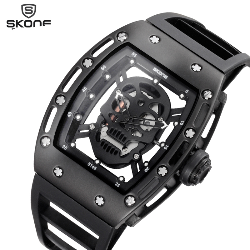 SKONE 2017 Pirate Skull Style Quartz men font b Watches b font Brand Men Military Silicone