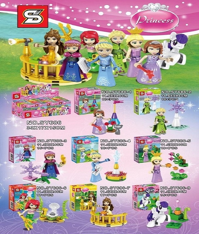 SY686 Super Heroes Building Blocks Princess Girl White Snow Tinker Bell Fairy Tale Anna Elsa Bricks Doll Action Children Toys disney princess brass key 2003 holiday collection porcelain doll snow white