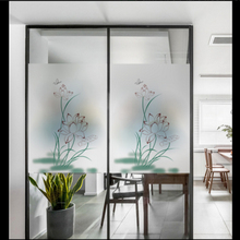 Window Glass stickers Frosted glass door window film waterproof opaque new Chinese lotus