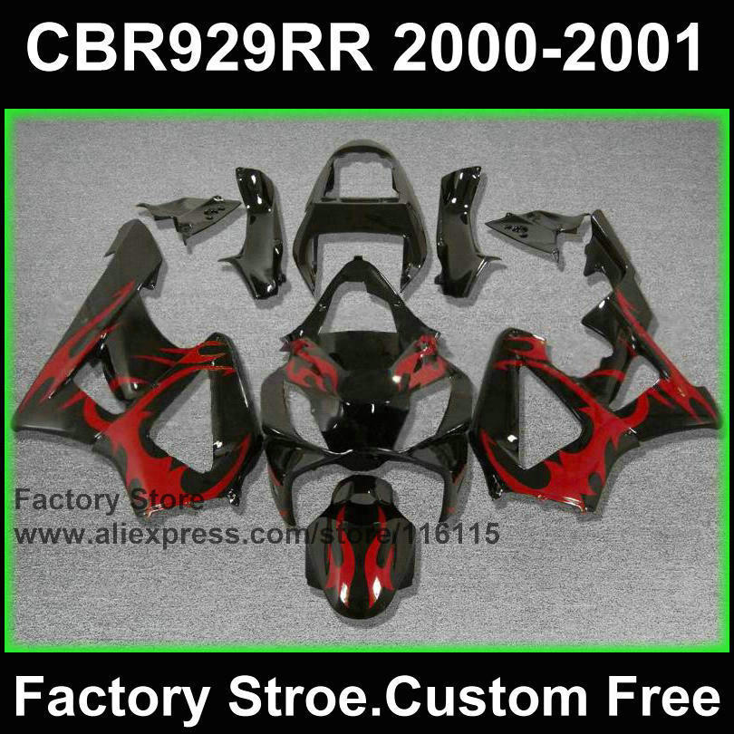 Custom free ABS Motorcycle fairing set for HONDA CBR 929 fairings 2000 2001 CBR900RR red flame aftermarket fairing kits