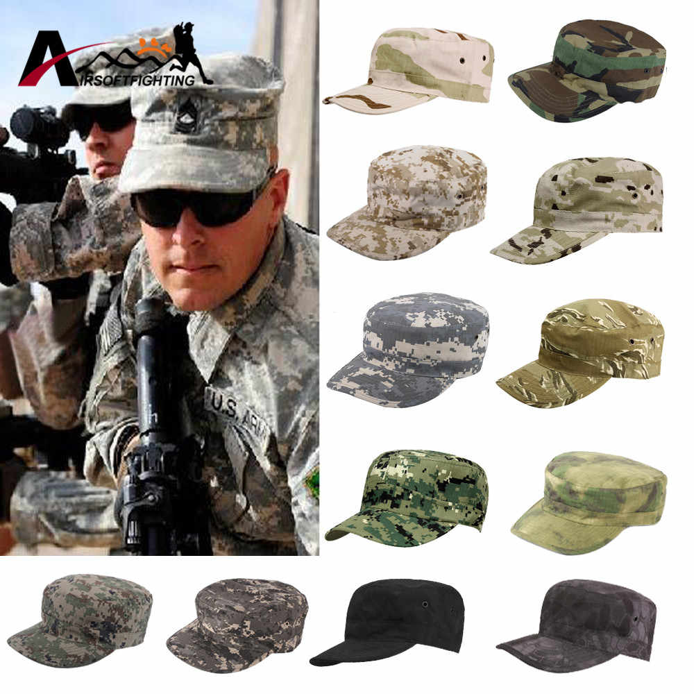Army Cadet Military Patrol Cap Hat Combat Hunting Fatique Ranger Headwear Breathable Flat Top BDU Sunshade Cap