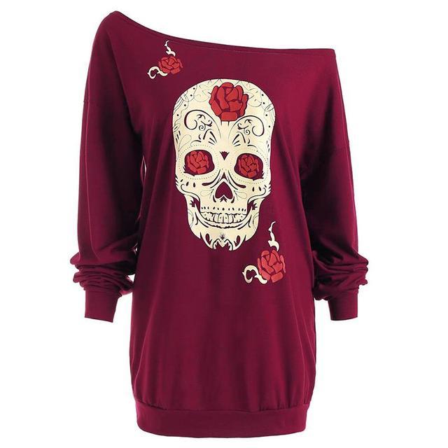 Fashion Skull Print T-Shirt Women Tops Long Sleeve Off Shoulder Loose T Shirt Plus Size Woman Clothing WS2741M