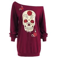 Fashion Skull Print T Shirt Women Tops Long Sleeve Off Shoulder Loose T Shirt Plus Size