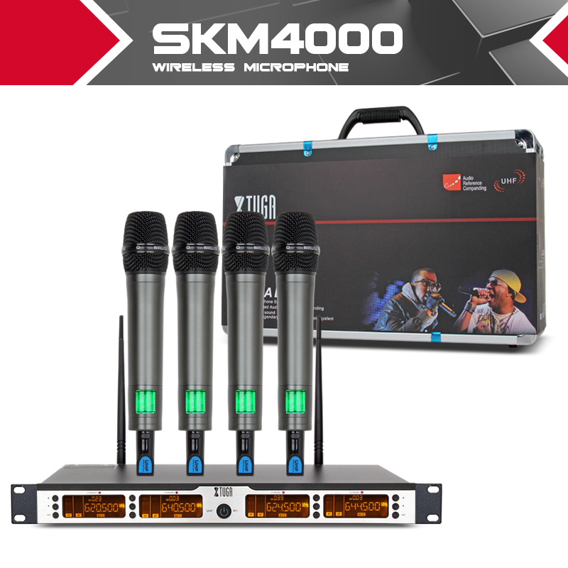 XTUGA SKM4000 top quality 400 Channel Wireless Microphones System UHF Party Stage handheld bodypack collar mic