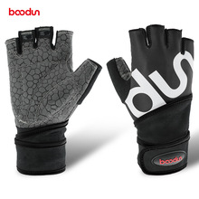 Boodun Men Women Half Finger Crossfit Gym Gloves Fitness Gloves Body BuildingWeight Lifting Wrist Sport Gloves for Musculation cheap Weight Lifting Glove Leica silicone printing cloth towel microfiber foam adult Unisex men women Red blue black green