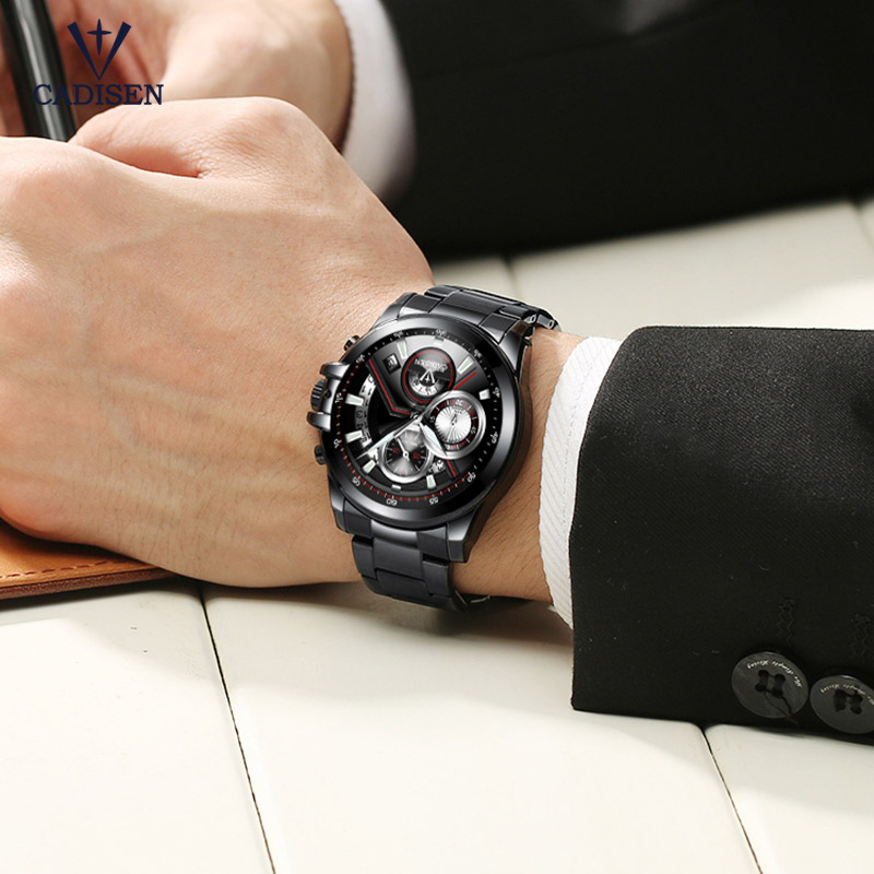 Cadisen Black Stainless Steel Strap Quartz Watches for Business Heren - Herenhorloges - Foto 5