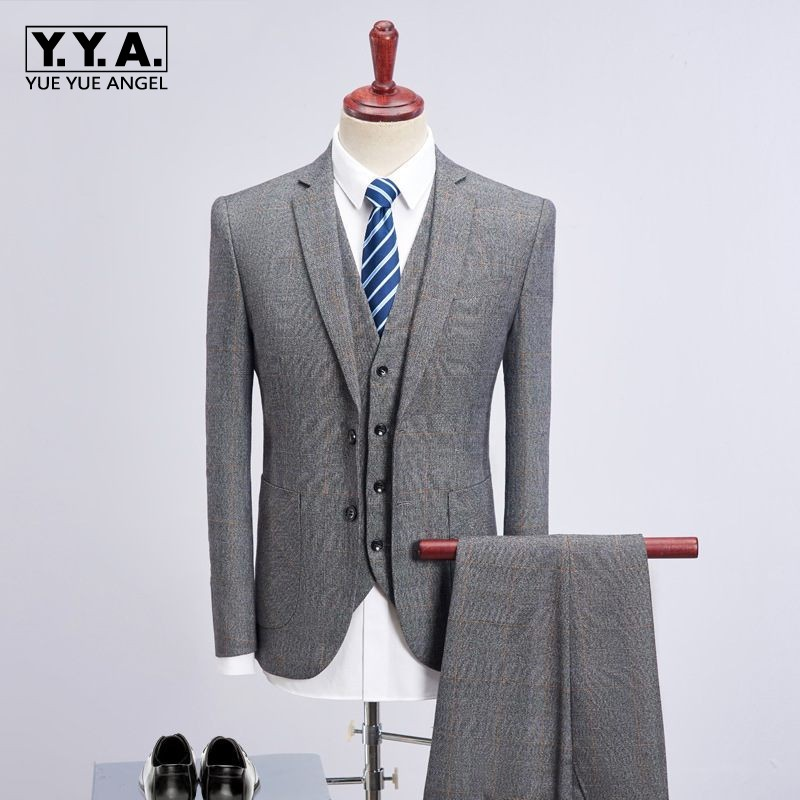 gray tweed piece business suits plaid men wedding suits. Black Bedroom Furniture Sets. Home Design Ideas