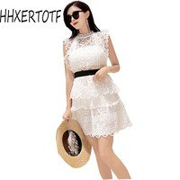 2018 summer fashion sexy women High end Hollow out Sexy A line lace sleeveless mini dresses