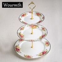 WOURMTH Keramik Moderne Blume Keramik Drei Schichten Tablett Dekorative Porzellan Geschirr Platte Handwerk Zubehör für Letzten
