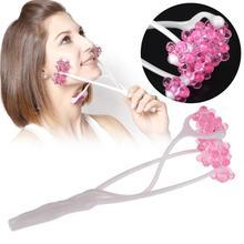 2 In 1 Facial Massager Roller Portable Flower Shape Anti Wrinkle Face Lift