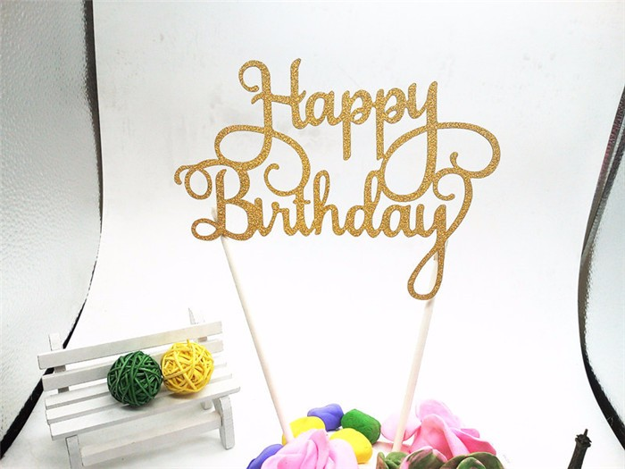 Buy Gold Glitter Script Happy Birthday Cake Toppers Kids Birthday Party Favors Personalized Happy Birthday Cake Decorations Silver for $1.07 in AliExpress store