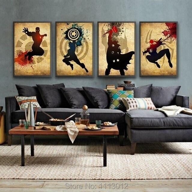 Les Avengers! Iron man, Thor Captain America, Spiderman! Peinture à l'huile abstraite moderne faite à la main Marvel Comics Art de toile de super-héros - 4