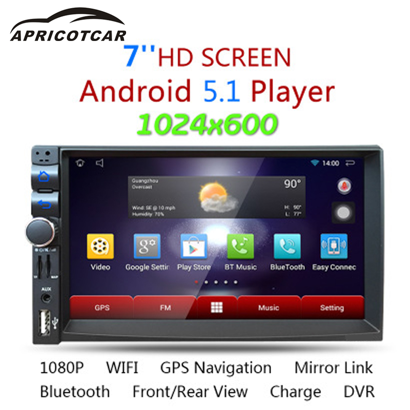 APRICOTCAR 7 Inch Quad-core Bluetooth Car't A MP5 Hd Video Player Touch Screen Android Support USB/FM/TF/WIFI GPS Navigation New a gauge 7 inch lcd at070tn94 highlight navigation screen screen