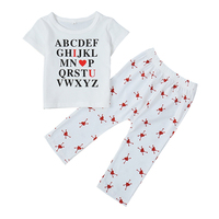 Autumn Baby Girls Boy Clothing Set Adorable Letter Print Short Sleeve Tops Blouse Trousers Casual Outfits Costume Set