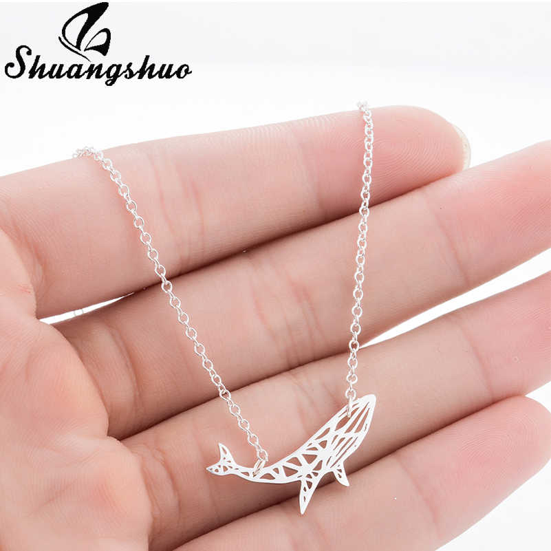 Shuangshuo Cute Origami Whale Necklace Animal Necklace Silver Fish Necklaces & Pendants Chokers Necklaces for Women