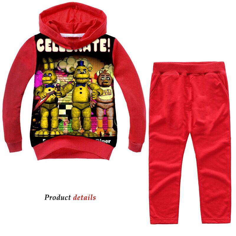 Baby Boys Girls Fashion Sport Suit Five Nights At Freddy's Children Kids Cartoon Sweatshirt T Shirt Trousers Pants Clothing Set