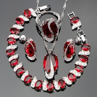 Silver 925 Classic L Red Stones Jewelry Sets For Women White CZ Ring Size 6 7
