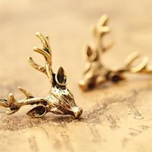 2015 Fashion Vintage Cheap Original Design Stud Earrings Wholesale Punk Retro Bronze Animal Deer Head Deer