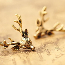 2018 Fashion Vintage Cheap Original Design Stud Earrings Wholesale Punk Retro Bronze Animal Deer Head Deer