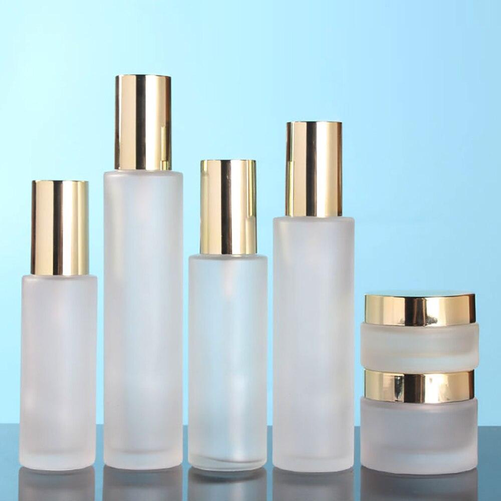 Empty eye cream frosted bottle 30g dispenser glass bottle packaging  with light golden cap