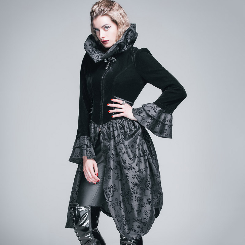 Devil Fashion Gothic Women Flare Sleeves Flocking Jacket Coats Steampunk Black High Collar Long Coats Stage Performance Costume