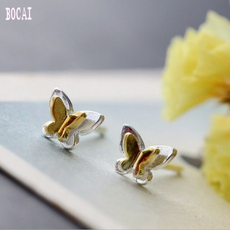 Hypoallergenic 100% S925 pure  Silver Stud Earrings Handmade Small Butterfly for Women