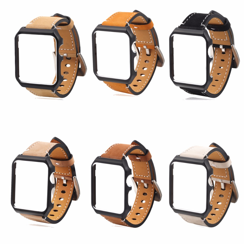 For Apple watch Leather Replacement Band and Metal watch case protective Cover for Apple iWatch series 1/2 42MM Champagne Gold eache silicone watch band strap replacement watch band can fit for swatch 17mm 19mm men women