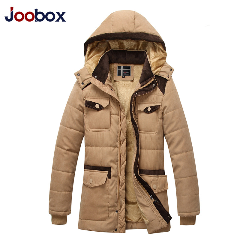 JOOBOX New Thickening Parka Men Long Winter Jacket Men Warm Cotton-Padded Jacket Coat Hooded Of Fashion Big Yards Casual Jacket 2 pcs lot