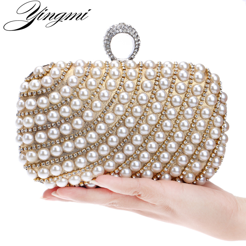 YINGMI Pearl diamond-studded evening bag evening bag with a diamond bag women's rhinestone day clutch female wedding/party bags new stone women elegant evening bag with diamond bag lady beachstone banquet bag minaudiere female day clutch wedding party