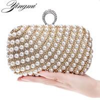 YINGMI Pearl diamond studded evening bag evening bag with a diamond bag women's rhinestone day clutch female wedding/party bags