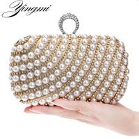 Pearl Women Evening Bags Finger Rings Diamonds One Side Rhinestones Purse Evening Bags Black Silver Gold