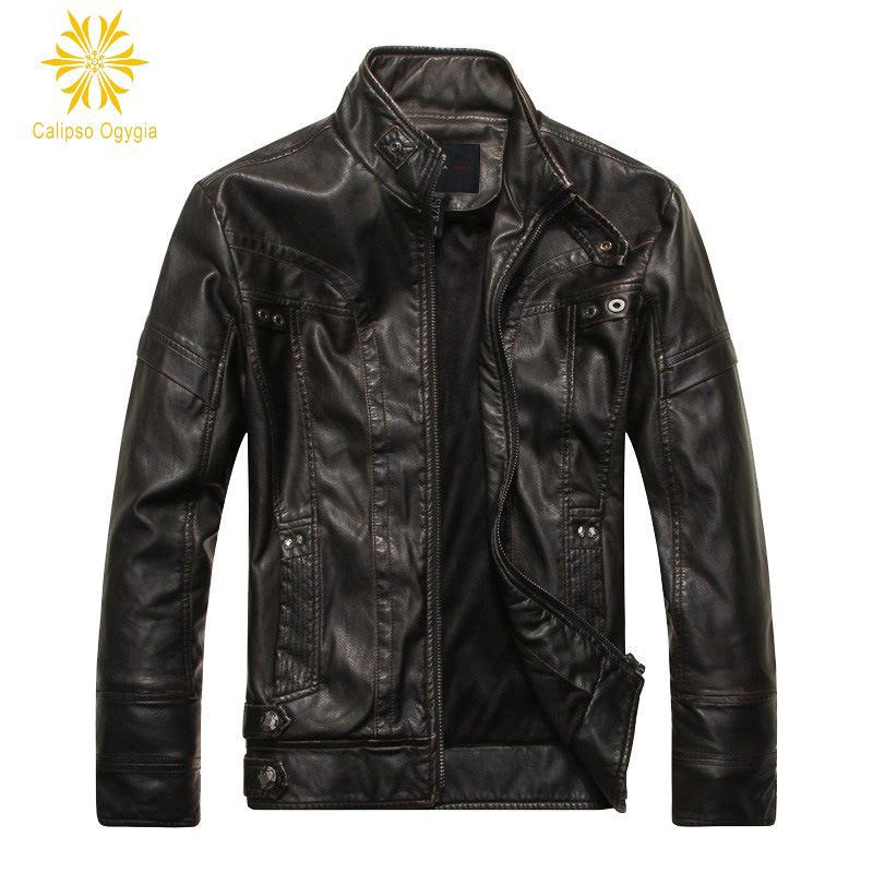 New Men's Genuine Lambskin Leather Jacket Black Slim fit Biker Motorcycle jacket M 3XL Mens Leather Jackets COML94