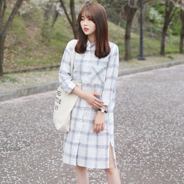 Primavera otoño ropa de Algodón y lino maternty camisa de maternidad camisa a cuadros de manga Larga Floja