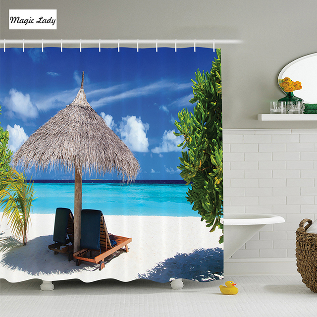 Shower Curtain Tropical Coastal Decor Holiday Hawaii Summer Beach Hawaiian Lounge Design Blue Black Green