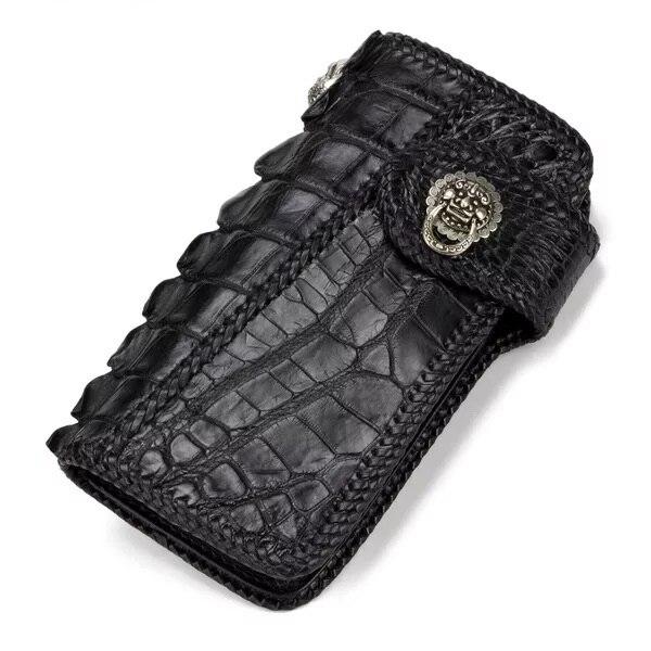 100% натуральная кожа крокодила мужские черные длинные Стиль держатель для карт клатч кошелек монет Карманный экзотические кожи аллигатора