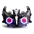 KT Headlight for Yamaha T-Max TMAX 530 2012-2014 LED Angel Eye Red Demon Eye Motorcycle HID Projector Assembly 2013