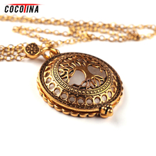 Hollow Magnifying Glass Necklaces Vintage Antique Gold Tree of Life Necklaces & Pendant For Women Femme Link Chain JS1192