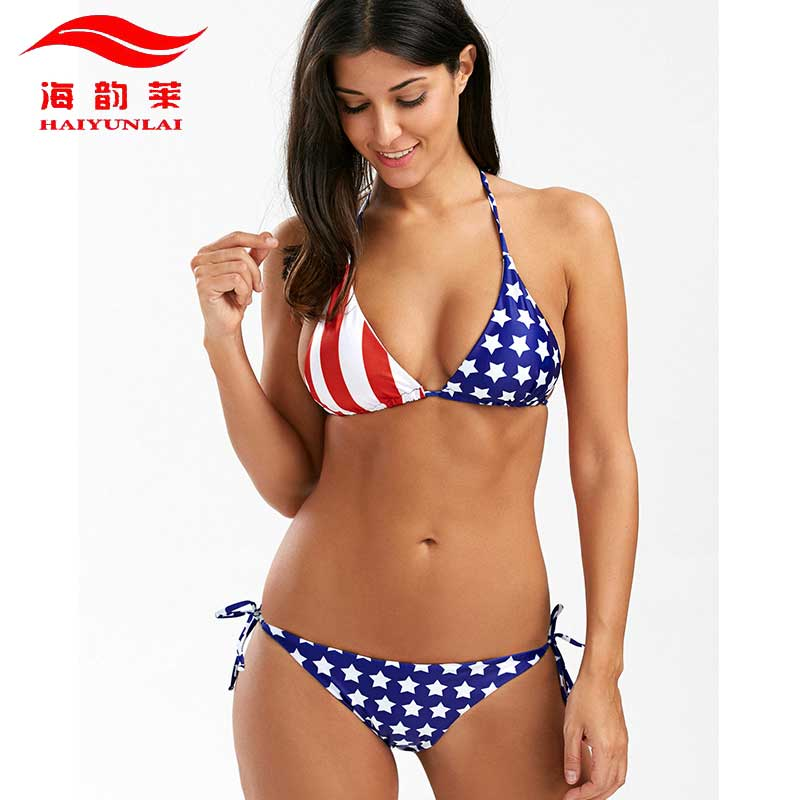 Stars Stripes USA Flag Bikini Set Sexy Halter Swimsuit Women Backless Women Swimwear Padded Bathing suit Maillot De Bain adidas купальник 3 stripes swimsuit