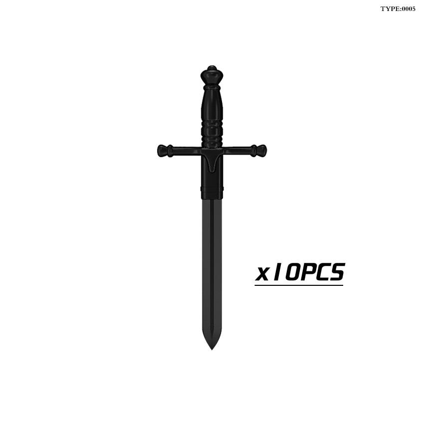 10pcslot Medieval Castle Knight Weapons Helmet Armor Shield Halberd Hammer Axe Swords Building Blocks Bricks Kids Toys5