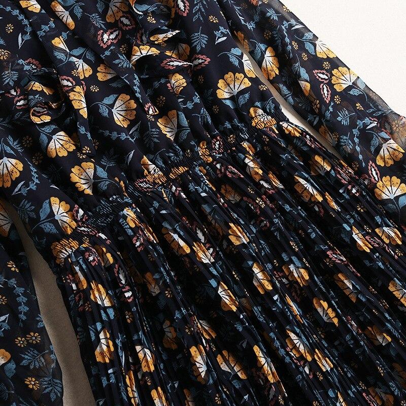 Designer Impression Manches Robe Robes Nœud Vintage Élégante 10615 Papillon Femme ligne Multi Printemps À Noir 2019 Boîtes Pour Longues Ruches A Shuchan 4zCPqUI4