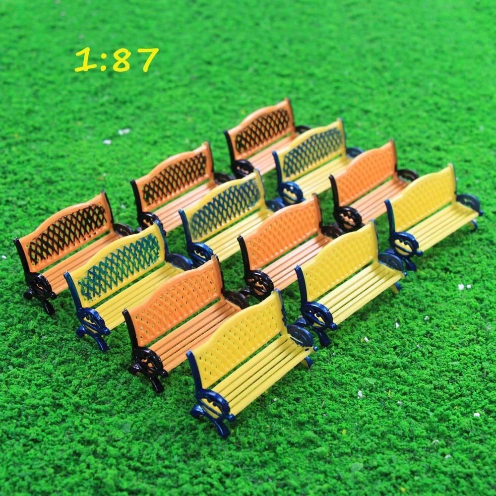 Modern Park Benches Part - 45: ZY35087 12pcs Model Railway Platform Park Street Seats Bench Settee  Chair1:87 HO(China