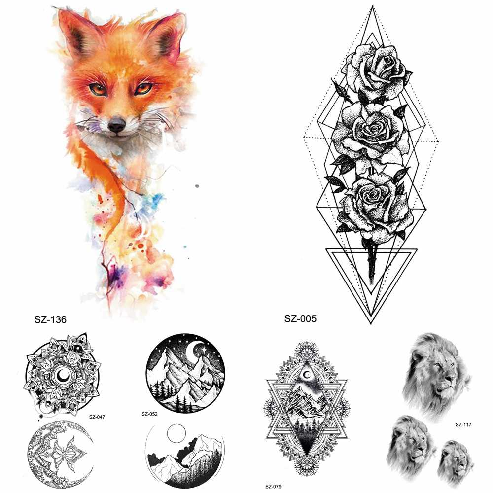 8616722fe Detail Feedback Questions about Watercolor Fox Temporary Tattoo Women Arm  Art Stickers Girls Neck Geometric Flower Fake Tatoos Men Small Lion  Waterproof ...