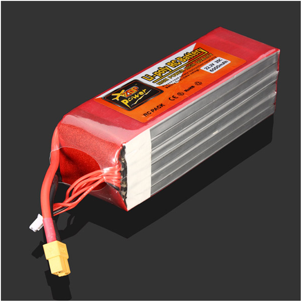 1pcs ZOP Power LiPo Battery 22.2V 6000MAH 35C XT60 Plug For RC Quadcopter Drone Helicopter Car Airplane zop lipo battery 11 1v 2200mah 3s 30c max 35c xt60 t plug for rc helicopter qudcopter drone truck car boat
